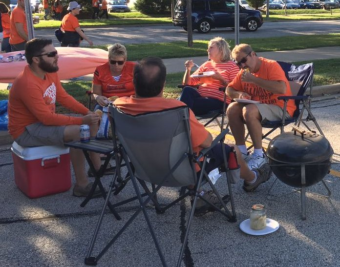 """A colorful photo of the Tailgate parties - a """"first-time' experience"""