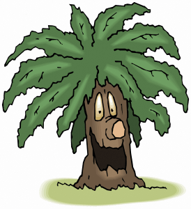 Comic clip-art - smiling tree