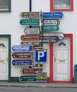 A lot of street signs on a single post - too many choices!