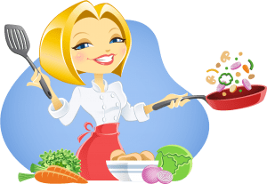 A vegetarian woman cooking - illustration