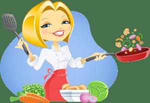 אילוסטרציה של שפית מקפיצה ירקות במחבת