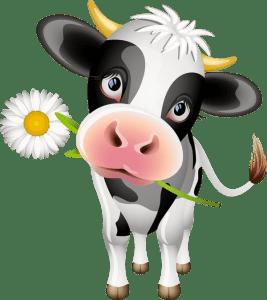 עגל נושא פרח illustration of veganism
